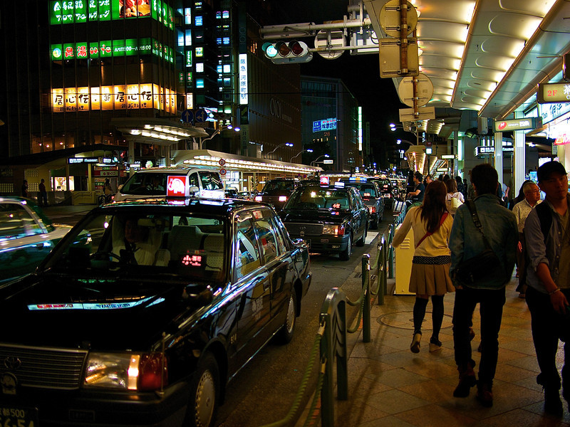 Taxis at Night, Shijo Dori - Kyoto, Japan