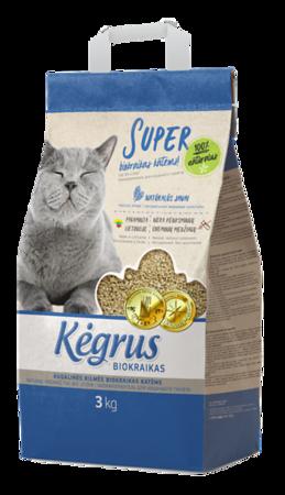 54203 KĖGRUS augalinės kilmės kačių biokraikas, 3 kg