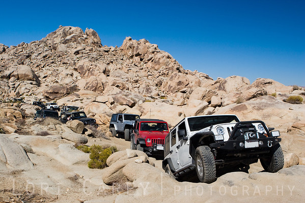 Jeeps on trail in Johnson Valley, California
