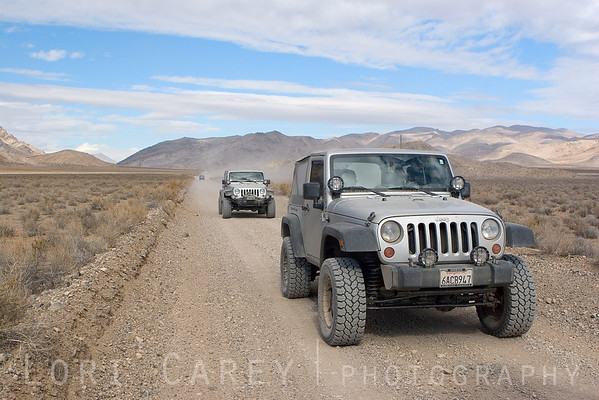 Jeeps on Hidden Valley Road in Death Valley National Park, California