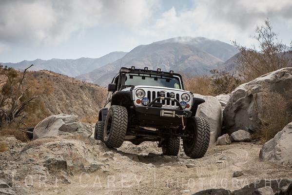 Jeep Wrangler on Berdoo Canyon trail, Joshua Tree National Park