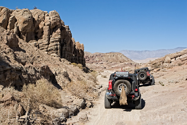 Jeeps leaving The Slot in Anza-Borrego Desert State Park