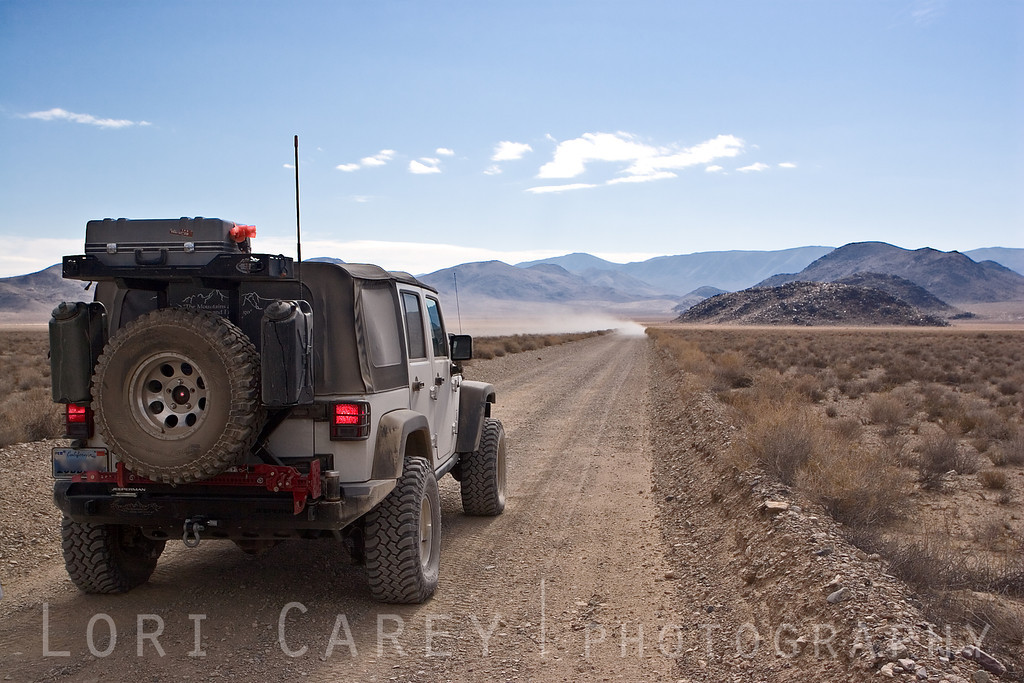 Jeep on trail in Hidden Valley, Death Valley National Park