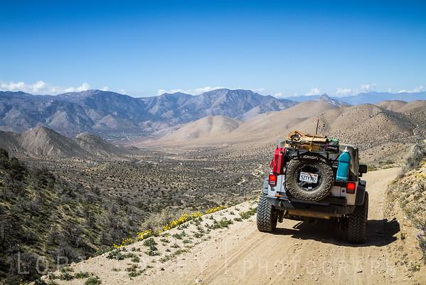 Jeep Wrangler on Bird Spring Pass trail
