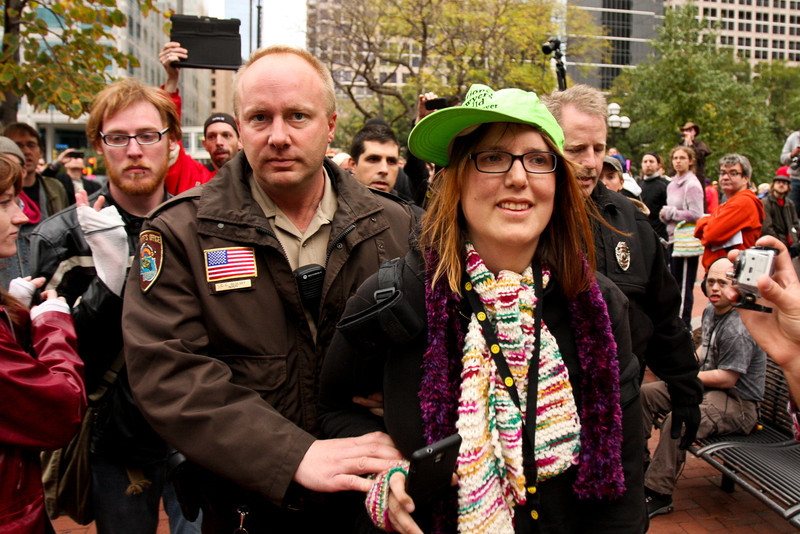 Melissa Hill is arrested by Hennepin County Sheriffs for trespassing during Occupy Minnesota, Oct 15th, 2011
