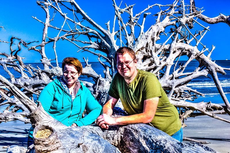 Brian and Jenn with driftwood