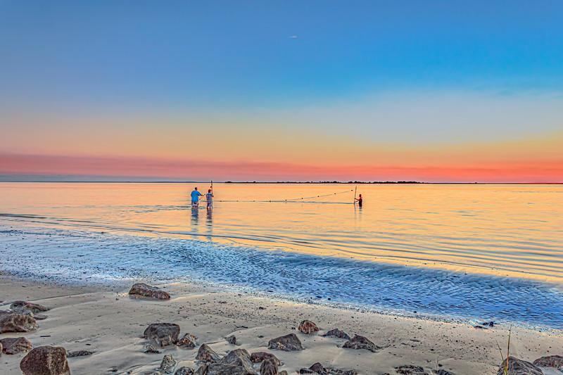 Smoky Sunset and Gillnet Shrimping