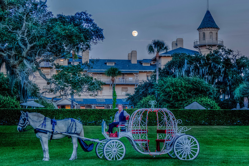 Ghost Tour Pumpkin Carriage under Haunting Moon