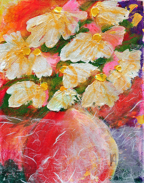 Daisies in a Red Vase<br /> Exploration and Warm Up on Water Color Paper<br /> Original Sold