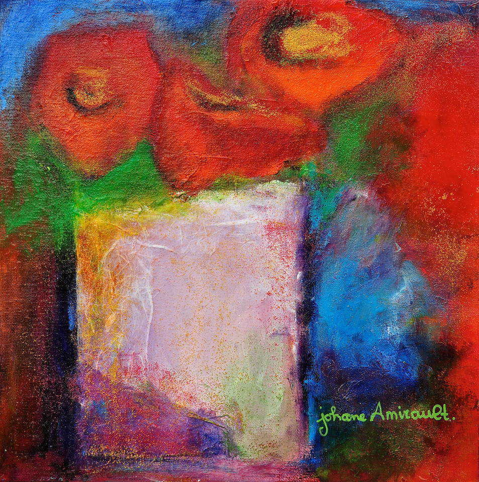 "Abstract Poppies in a White Vase<br /> Mixed Media on Panel<br /> 12""x12""<br /> SOLD"