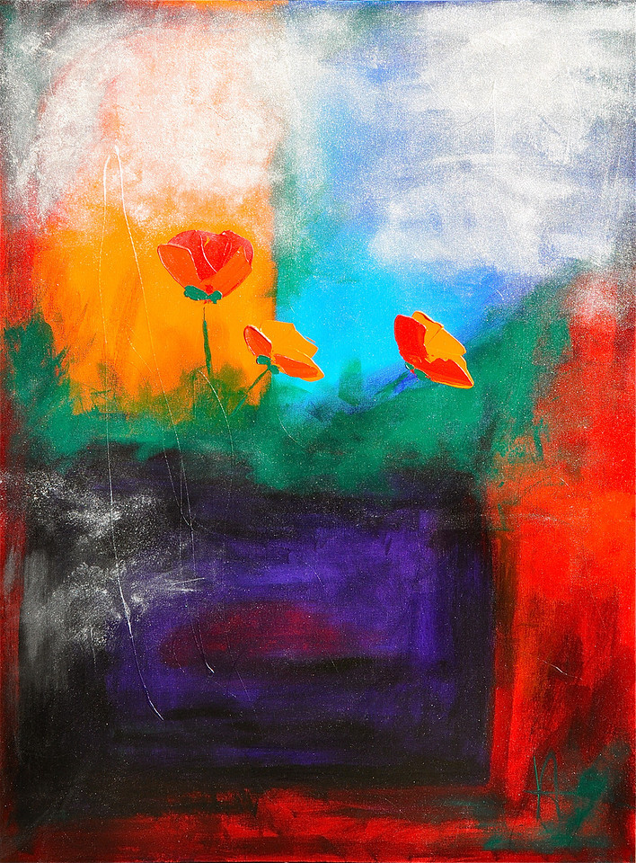 "Winter Flowers<br /> Mixed Media on Canvas<br /> 30""x48""<br /> Sold"