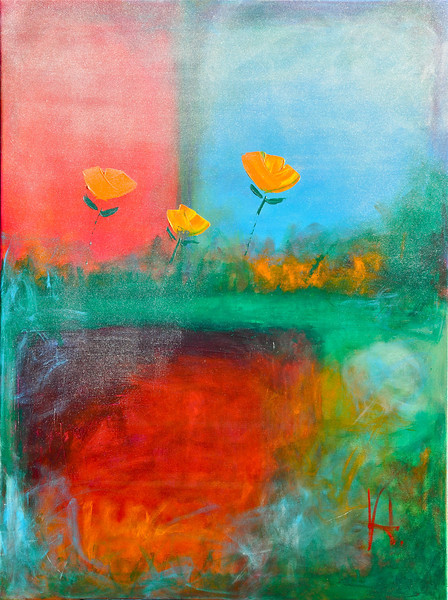 """Winter Tulips, Rain and Snow<br /> Acrlylic on Canvas<br /> 30""""x48""""<br /> Original Available"""