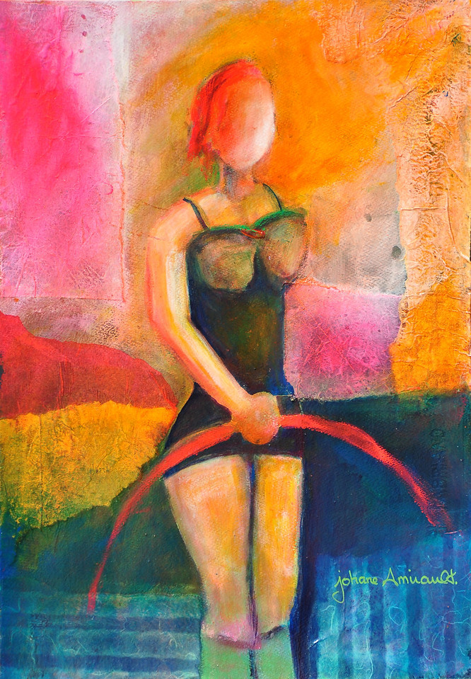"Performing<br /> Mixed Media on Water Color Paper<br /> 22""x15""<br /> Original Sold"