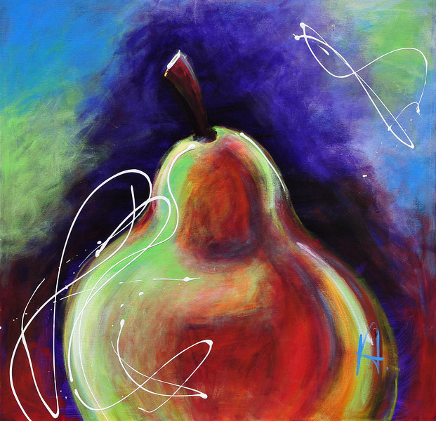 An Abstract Painting of a Pear