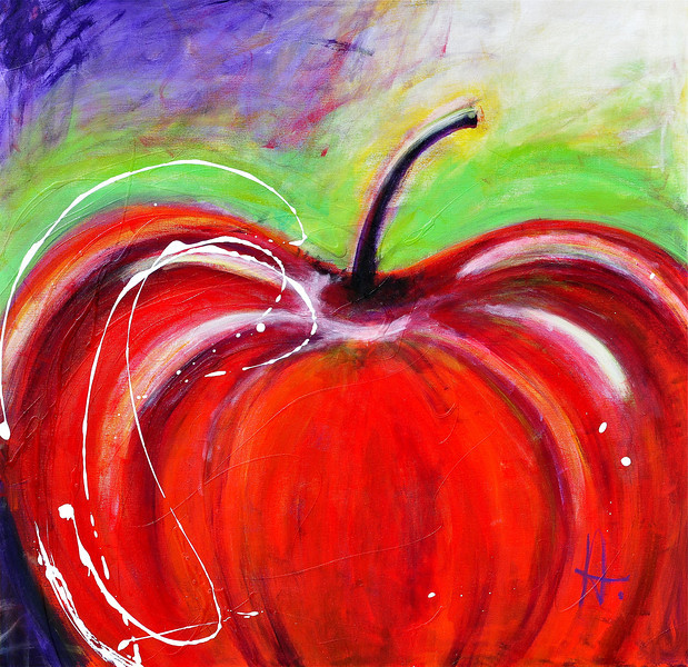 Abstract Painting of an Apple