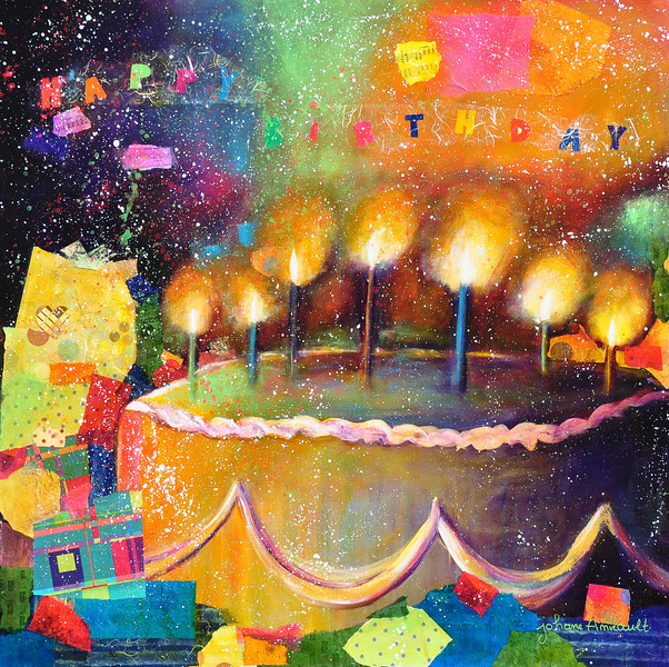 "Happy Birthday to You<br /> Mixed Media on Canvas<br /> 36""x36""<br /> Sold"