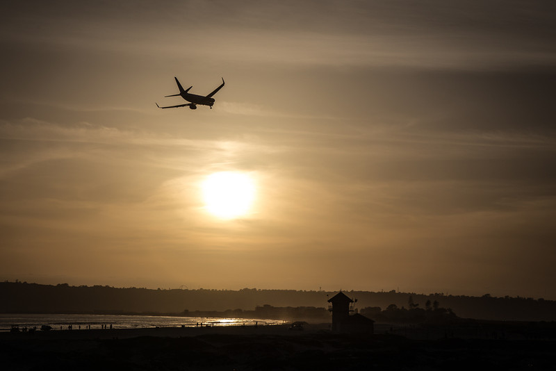 Plane landing at NAS North Island on Coronado Island, CA