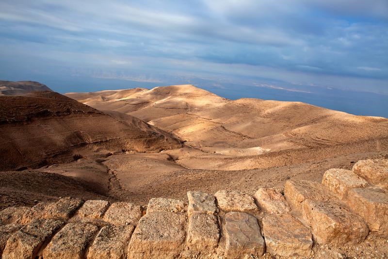 MKAWER. VIEW AT PALESTINE FROM THE HERODUS CASTLE. JORDAN.