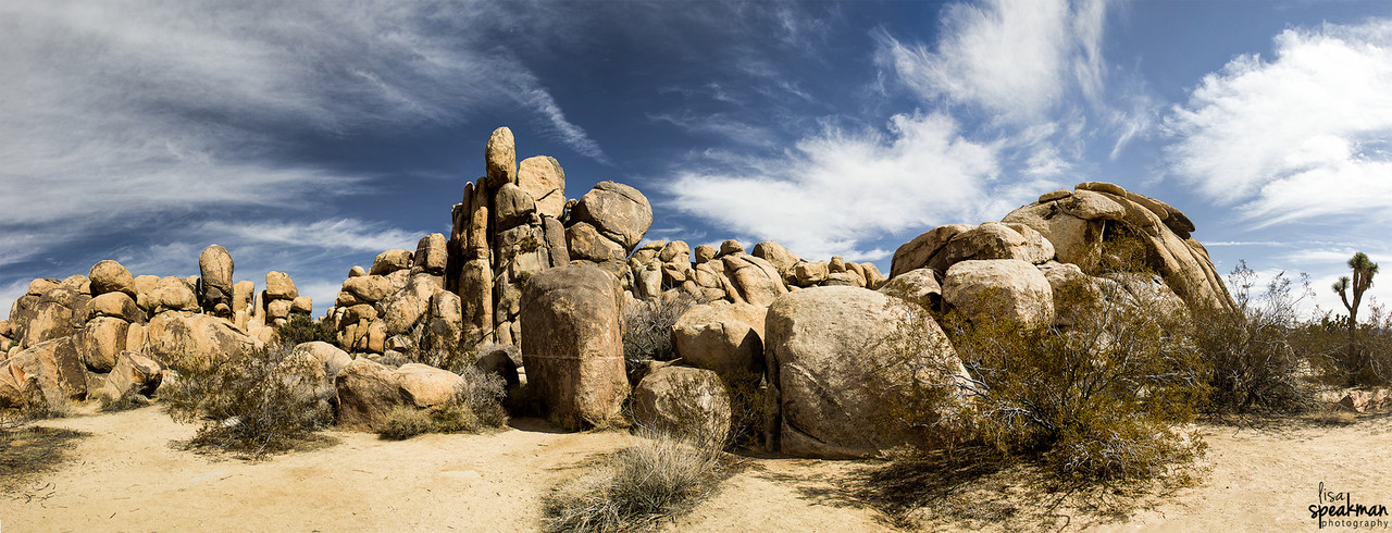 Day 47<br /> Hidden Valley, Joshua Tree.  Just now starting to go through my shots from Joshua Tree yesterday.  Started out with this 9 shot panorama.  It was the perfect day in Joshua Tree, awesome skies and a perfect 70 degrees.