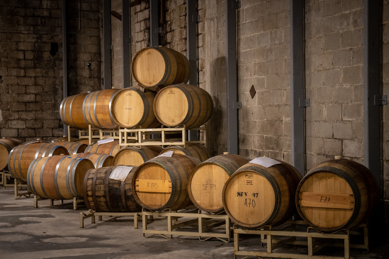 Oak barrels in a far corner of the haunted room at Filippi Winery