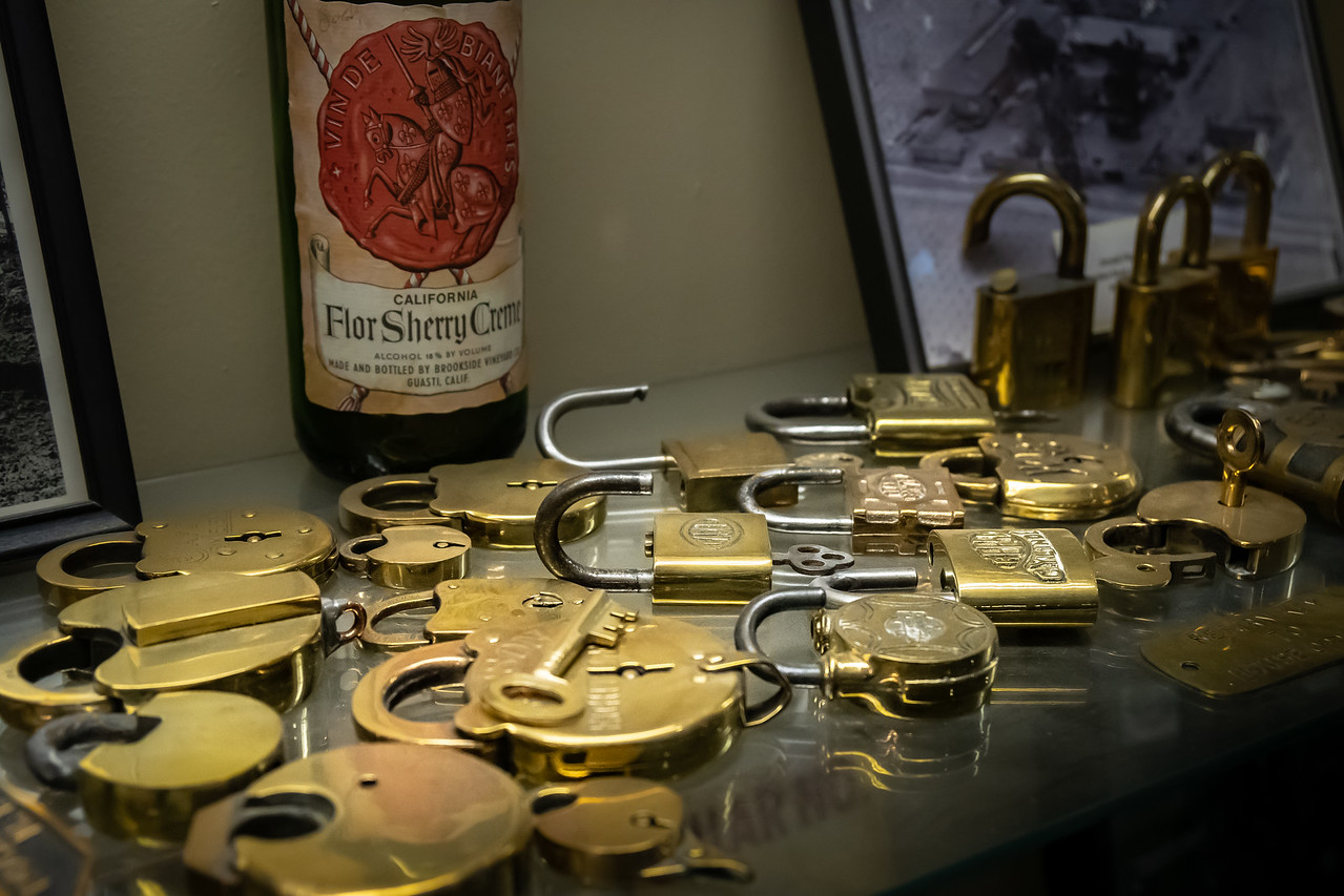 Prohibition locks on display at Joesph Filippi Winery