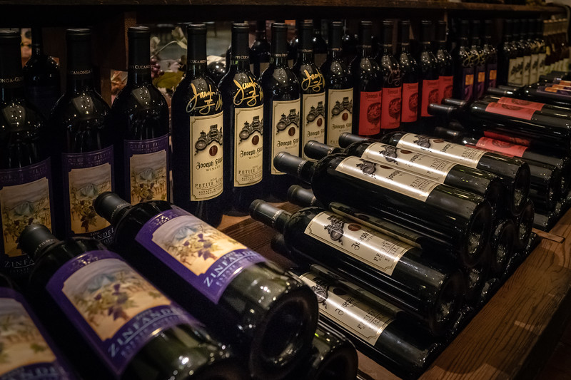Wine displayed for sale at Joesph Filippi Winery