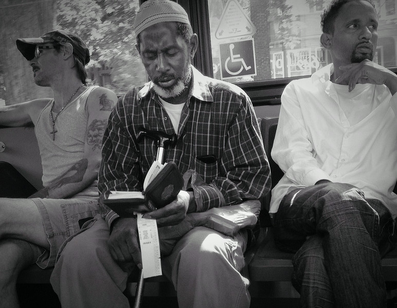 "August 8   Broadview streetcar, Toronto.<br /> <br /> ""We read to know we're not alone."" <br /> ― William Nicholson, Shadowlands"