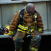 Firefighter catching his breath.