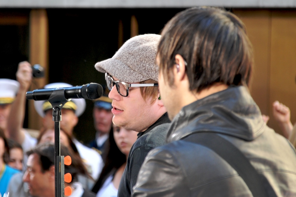 NEW YORK CITY -- Patrick Stump, the lead singer of the band Fall Out Boy, sings at the Today Show's Outdoor Concert Series May 22, 2009 on the plaza at Rockefeller Center as bassist Pete Wentz plays along and looks cool for the ladies.