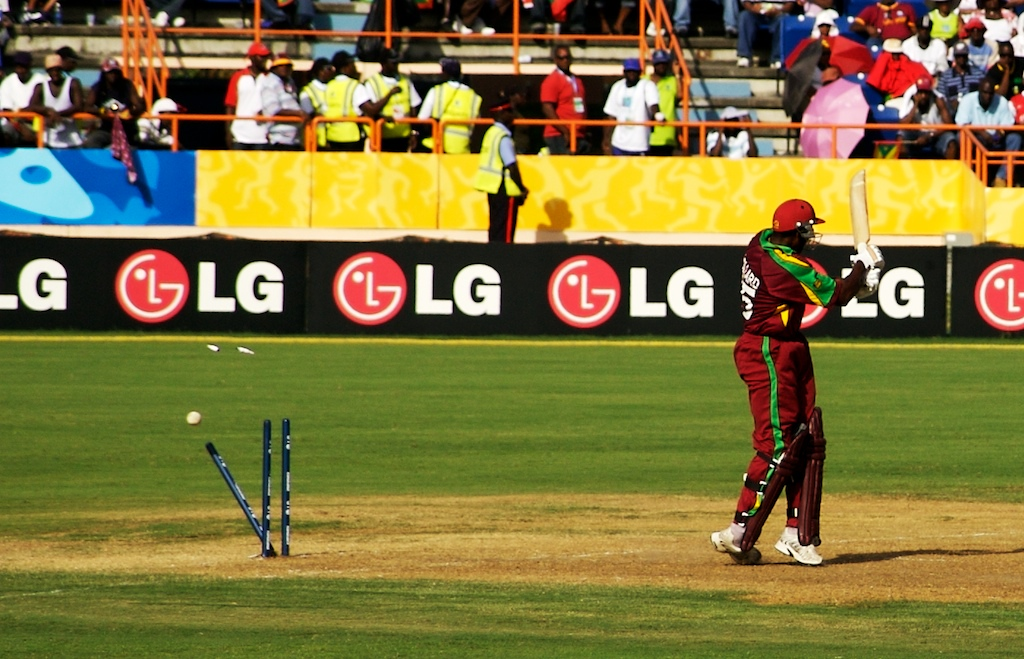 ST GEORGE'S, GRENADA --A West Indies player is bowled out during the 2006 Cricket World Cup in a match against South Africa.  The West Indies lost 356 -289.