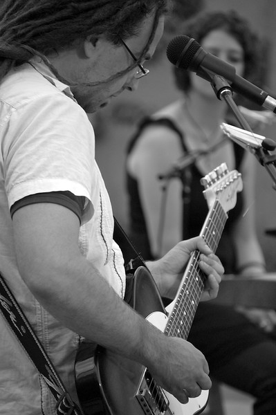 ST. LOUIS PARK, MN -Guitarist Matt Patrick rocks out during a rare outdoor show with one of his many bands, Glad Rags.  The cover band is a fun project, which some local singer song writers cover some of their favorite songs.