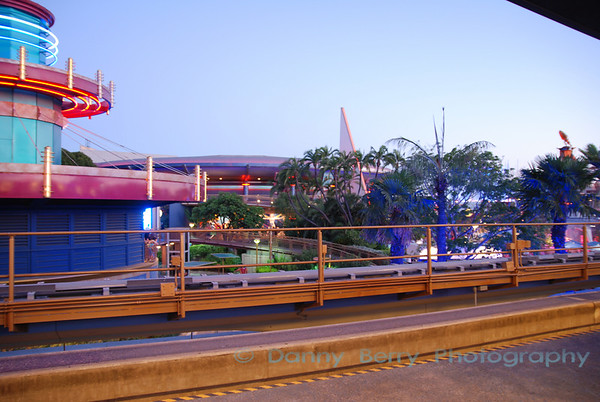 Shot from inside the Monorail at dusk.