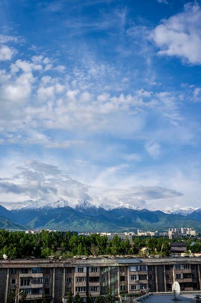 View at the Trans-Ili Alatau mountains in Almaty, Kazakhstan - Central Asia