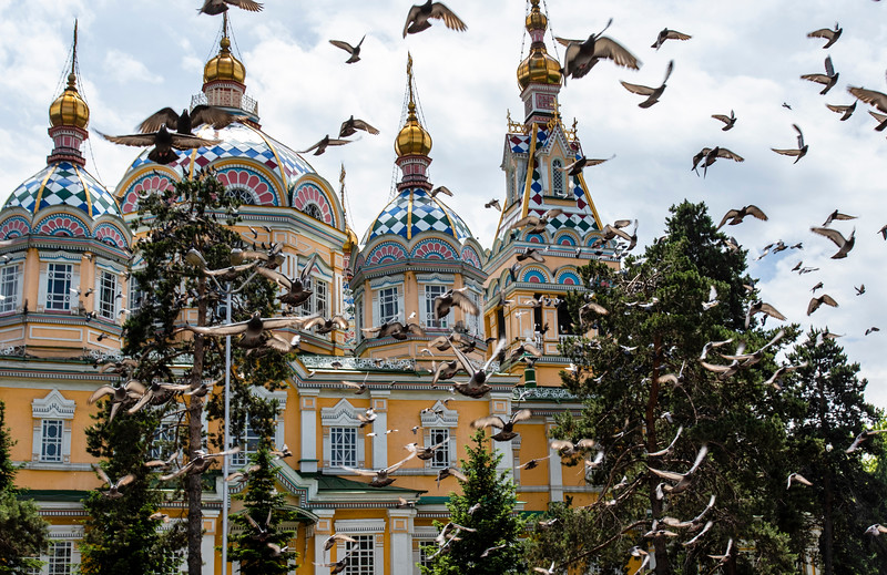 The Ascension Cathedral (Zenkov Cathedral), a Russian Orthodox cathedral located in Panfilov Park in Almaty, Kazakhstan - Central Asia