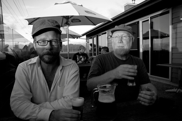 Allix Harrison-D'Arcy and his father Christopher Harrison at a pub in Greymouth, New Zealand. ©2012 KT WATSON