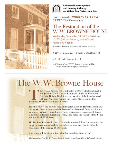 Direct mail: Invitation to W.W. Browne House Ribbon Cutting Ceremony