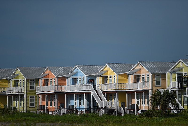 The condos at 1515 East Beach Boulevard in Pass Christian are painted in pastel hues.