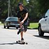 Caleb LeBlanc, 15, skates along Pascagoula Street in Pascagoula.