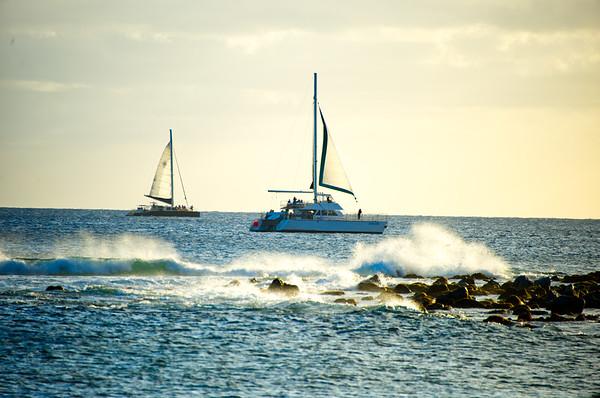 Catamarans along the Coastline