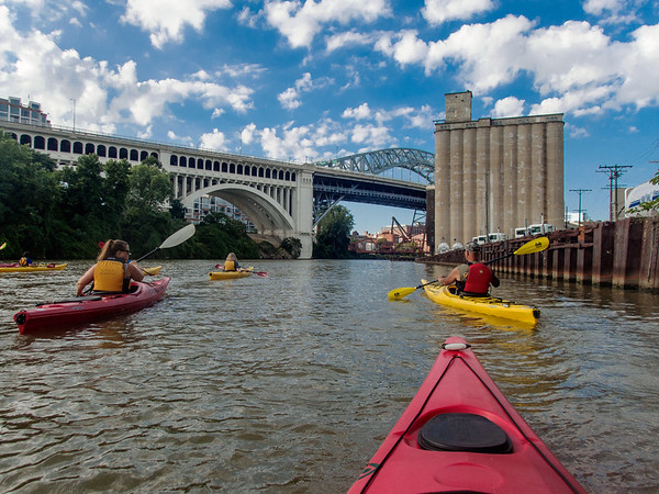 Kayaking on the Cuyahoga River in Cleveland, Ohio