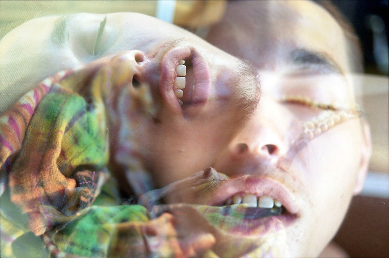 35mm double exposure of sleeping Kerrville attendee <br /> 2011©MegSeidel