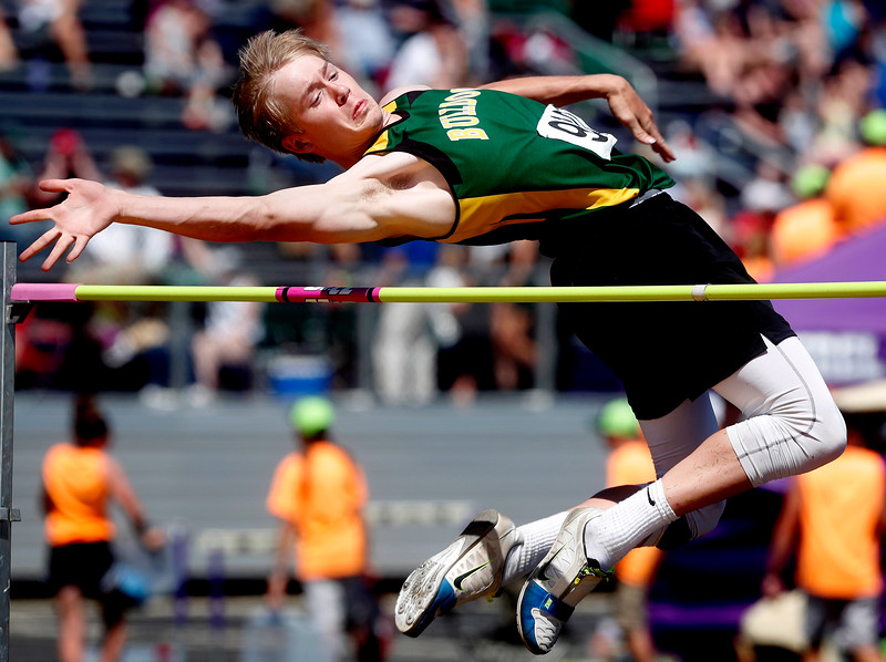 Belgrade's Dawson Fowler competes in the class A boys high jump during the Montana High School Association State A/B Track and Field Meet at Laurel High School on Friday, May 25, 2018. Fowler placed second with a height of 6 feet and 2 inches.