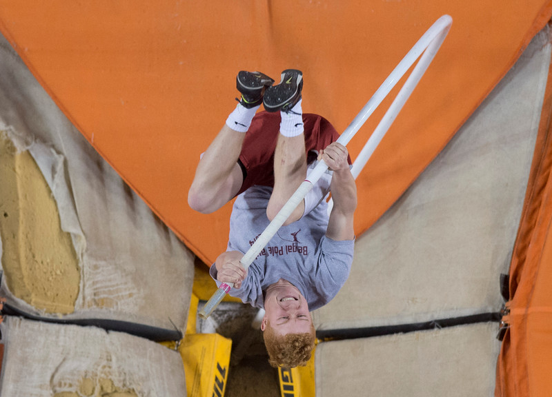 A pole vaulter competes during the annual Simplot Games in Pocatello, Idaho on February 20, 2015.