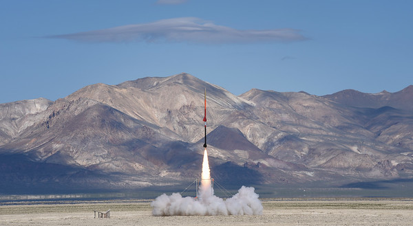 A multistage rocket fires in the Black Rock Desert as part of a NASA funded research program at the University of Washington.
