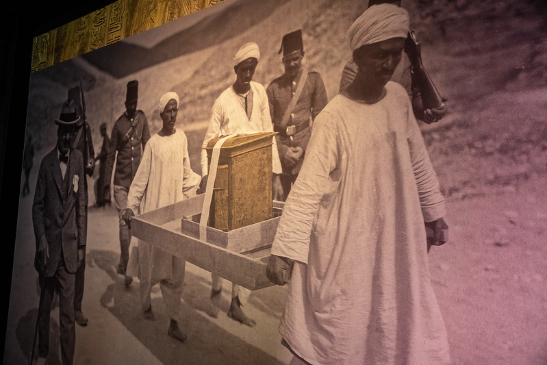 Photo of the Carter expedition removing the shrine from the tomb of King Tut in 1922