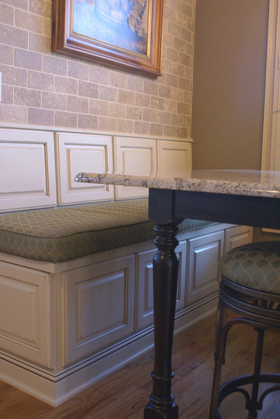 Piano hinge bench top provides additional storage.