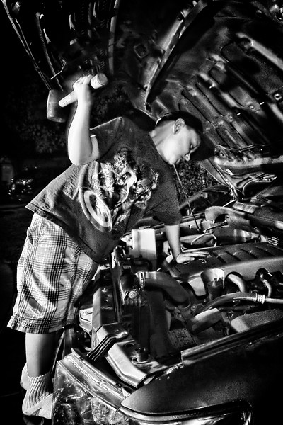 237/365 Mechanic - © Simpson Brothers Photography<br /> <br /> Shot with a Canon 40D, Sigma 10-20mm, 580EX set to off -2, 550EX camera left, 420EX camera right inside truck.