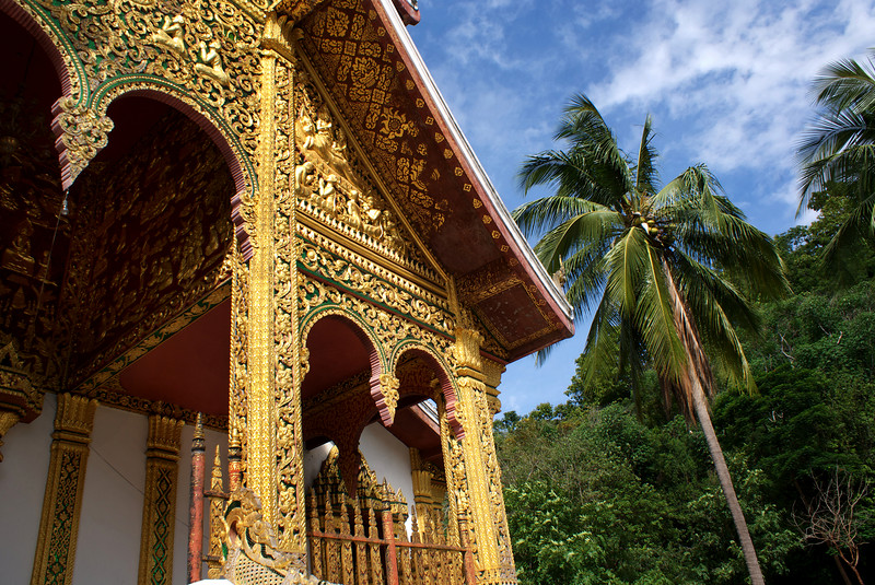 LUANG PRABANG. NATIONAL MUSEUM. CARVED GOLDEN FACADE OF THE ROYAL WAT [TEMPLE] [2]