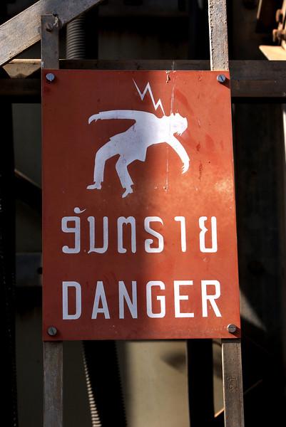 VIENTIANE. DANGER SIGN. LAOS.
