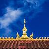 VIENTIANE. ROOF OF A BUDDHIST MONASTERY.